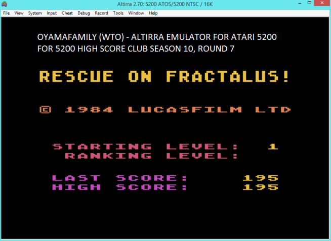 oyamafamily: Rescue on Fractalus (Atari 5200 Emulated) 195 points on 2017-05-15 19:07:44