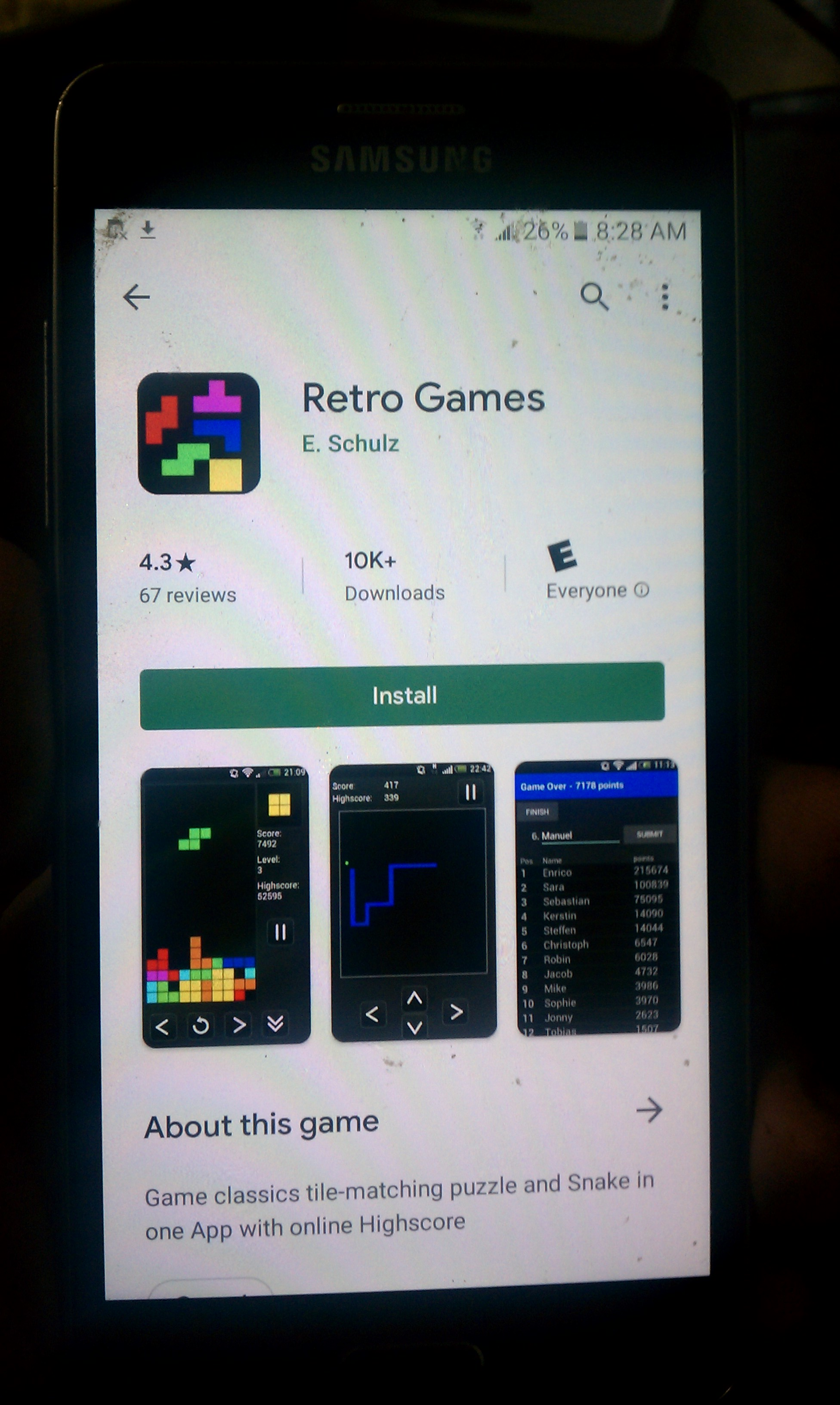 S.BAZ: Retro Games: Snake (Android) 436 points on 2020-03-28 17:39:49
