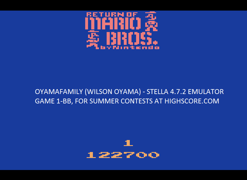 oyamafamily: Return of Mario Bros (Atari 2600 Emulated Novice/B Mode) 122,700 points on 2016-08-07 06:29:29