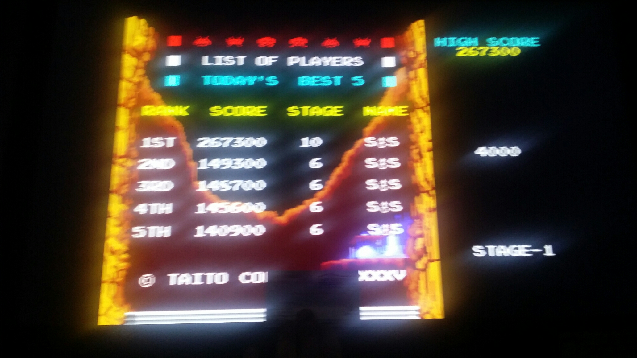 SeanStewart: Return of the Invaders [retofinv] (Arcade Emulated / M.A.M.E.) 267,300 points on 2017-12-20 21:09:14