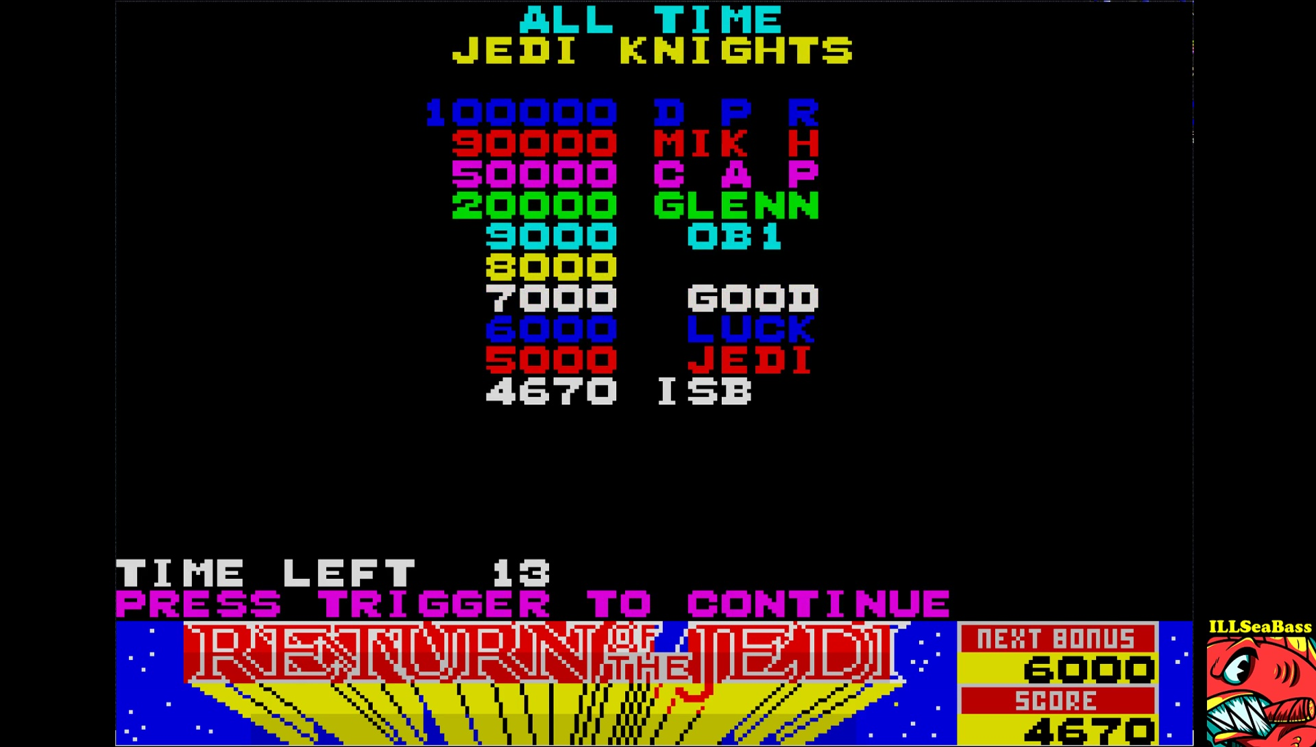 ILLSeaBass: Return of the Jedi [Start Level: Easy] (ZX Spectrum Emulated) 4,670 points on 2017-06-17 19:46:10