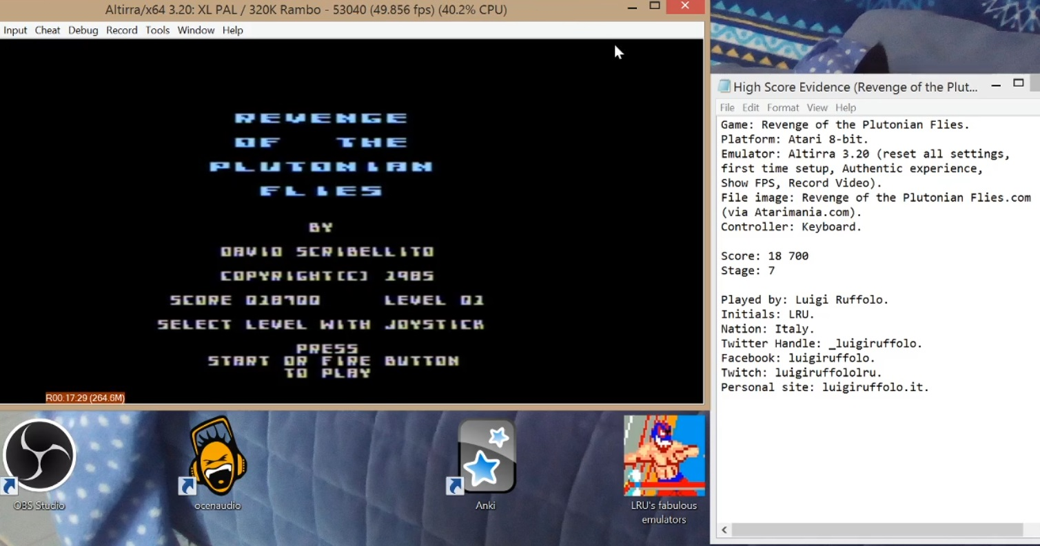 LuigiRuffolo: Revenge Of The Plutonian Flies (Atari 400/800/XL/XE Emulated) 18,700 points on 2020-07-13 08:04:11