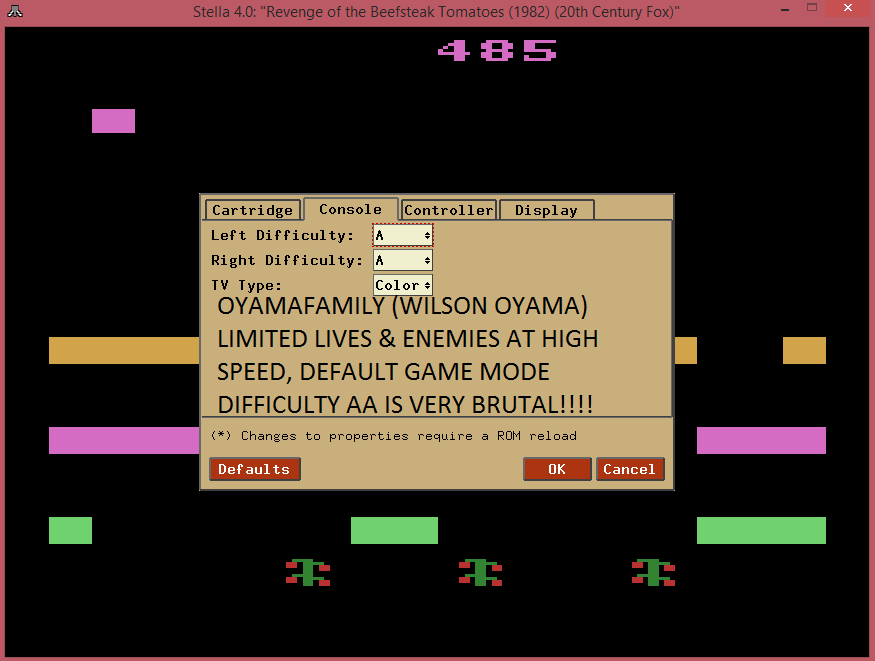 oyamafamily: Revenge of the Beefsteak Tomatoes (Atari 2600 Emulated Expert/A Mode) 485 points on 2015-08-22 21:14:39