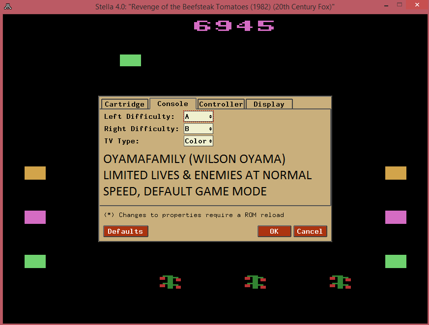 oyamafamily: Revenge of the Beefsteak Tomatoes: Game 1AB (Atari 2600 Emulated) 6,945 points on 2015-08-22 21:14:33