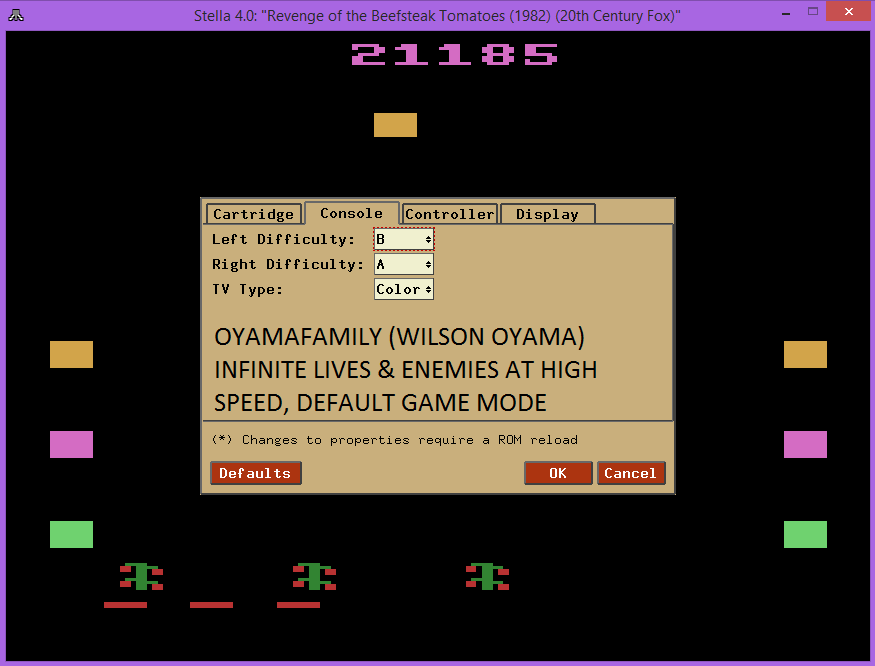 oyamafamily: Revenge of the Beefsteak Tomatoes: Game 1BA (Atari 2600 Emulated) 21,185 points on 2015-08-22 21:13:22
