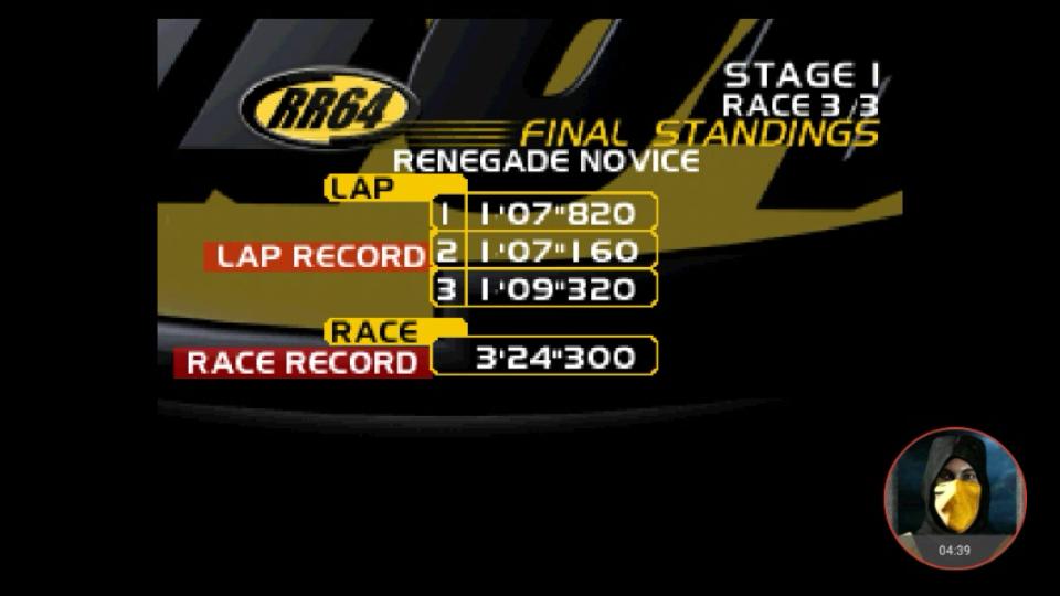 omargeddon: Ridge Racer 64: Time Attack [Renegade Novice / 3 Laps] (N64 Emulated) 0:03:24.3 points on 2018-03-01 16:07:44