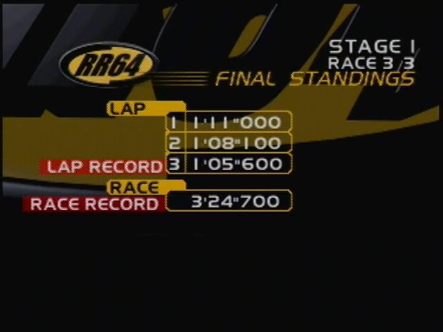 derek: Ridge Racer 64: Time Attack [Renegade Novice /  Fastest Lap] (N64) 0:01:05.6 points on 2016-04-13 17:12:26