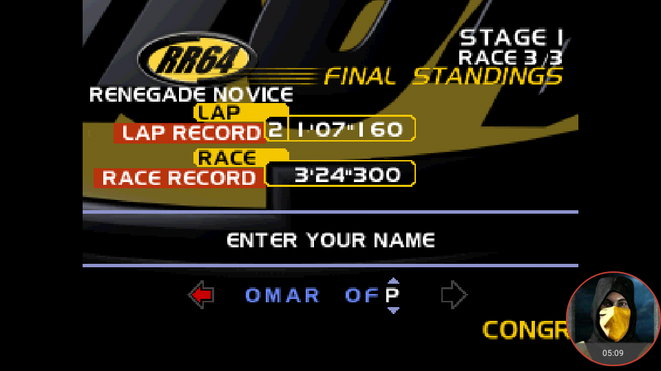 omargeddon: Ridge Racer 64: Time Attack [Renegade Novice /  Fastest Lap] (N64 Emulated) 0:01:07.16 points on 2018-03-01 16:13:11
