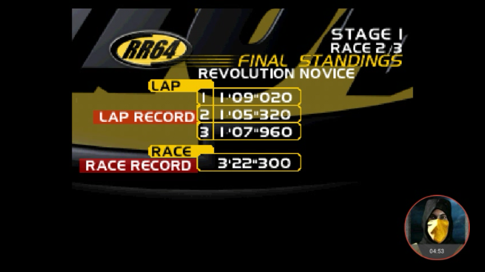 omargeddon: Ridge Racer 64: Time Attack [Revolution Novice / 3 Laps] (N64 Emulated) 0:03:22.3 points on 2018-03-01 16:04:20