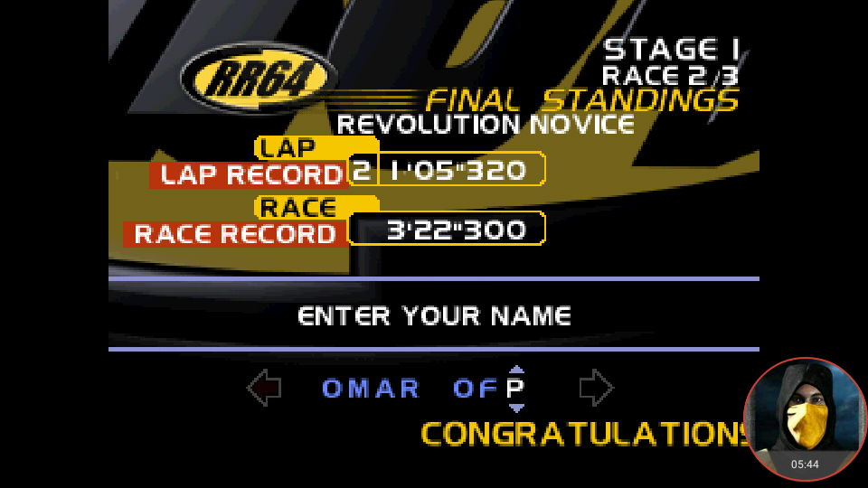 omargeddon: Ridge Racer 64: Time Attack [Revolution Novice / Fastest Lap] (N64 Emulated) 0:01:05.32 points on 2018-03-01 16:05:03