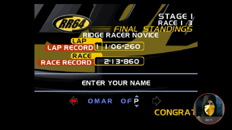 omargeddon: Ridge Racer 64: Time Attack [Ridge Racer Novice / Fastest Lap] (N64 Emulated) 0:01:06.26 points on 2018-03-01 16:03:12