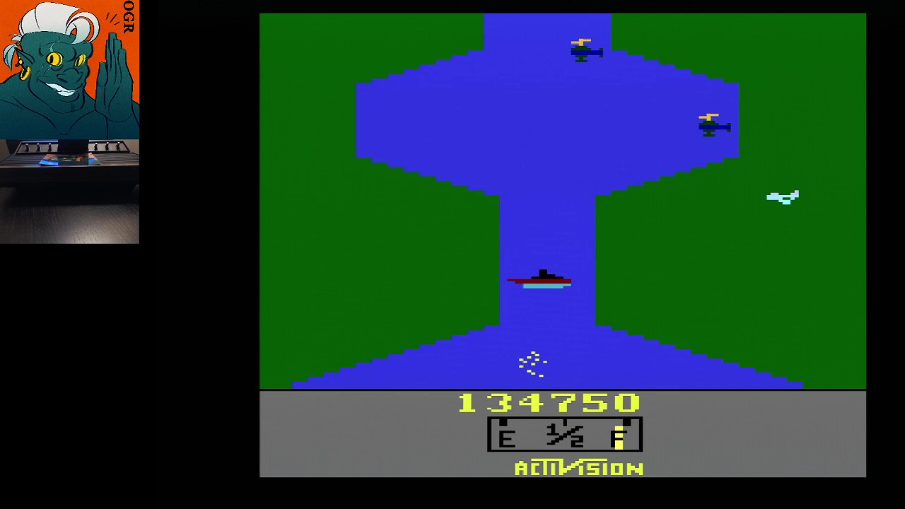 AwesomeOgre: River Raid (Atari 2600 Expert/A) 134,750 points on 2020-05-19 01:41:25