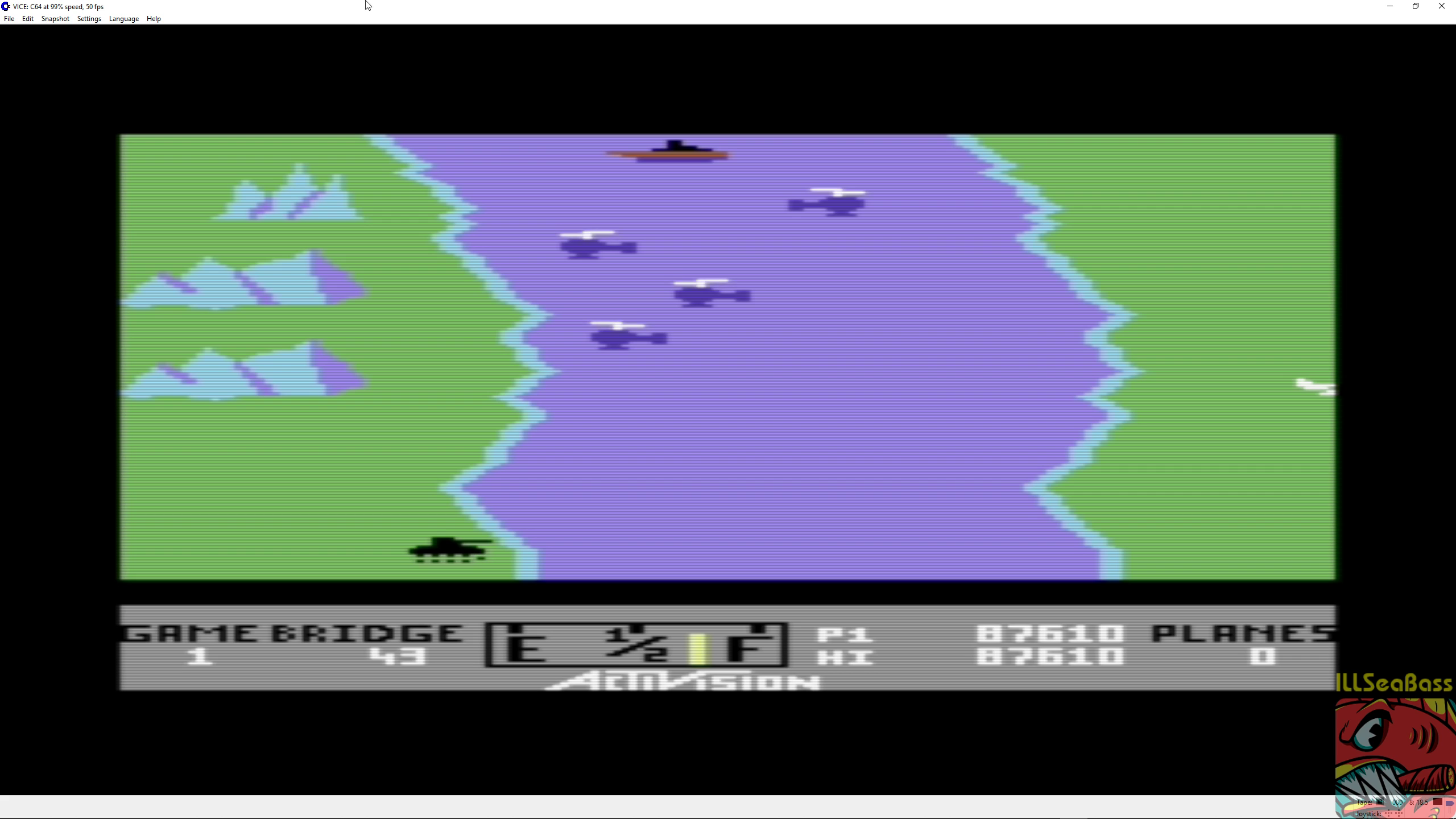 ILLSeaBass: River Raid (Commodore 64 Emulated) 87,610 points on 2018-09-04 19:13:10