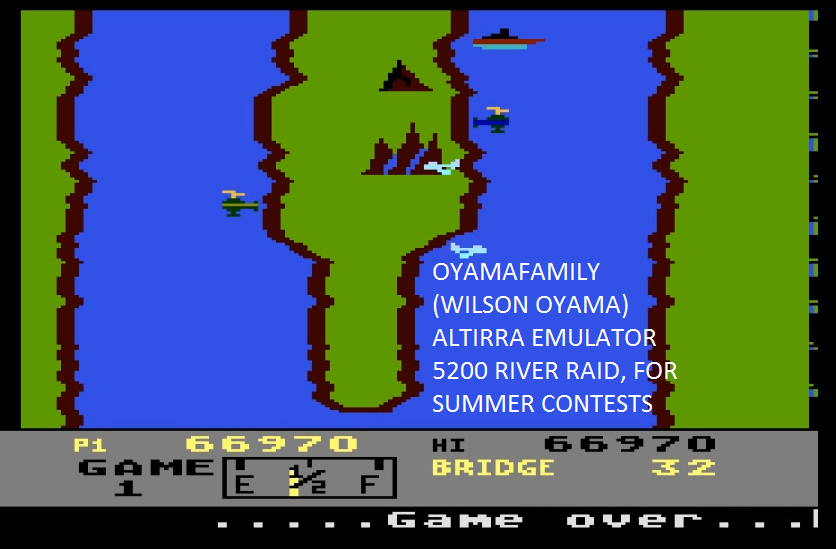 oyamafamily: River Raid: Game 1 (Atari 5200 Emulated) 66,970 points on 2016-07-17 16:32:23