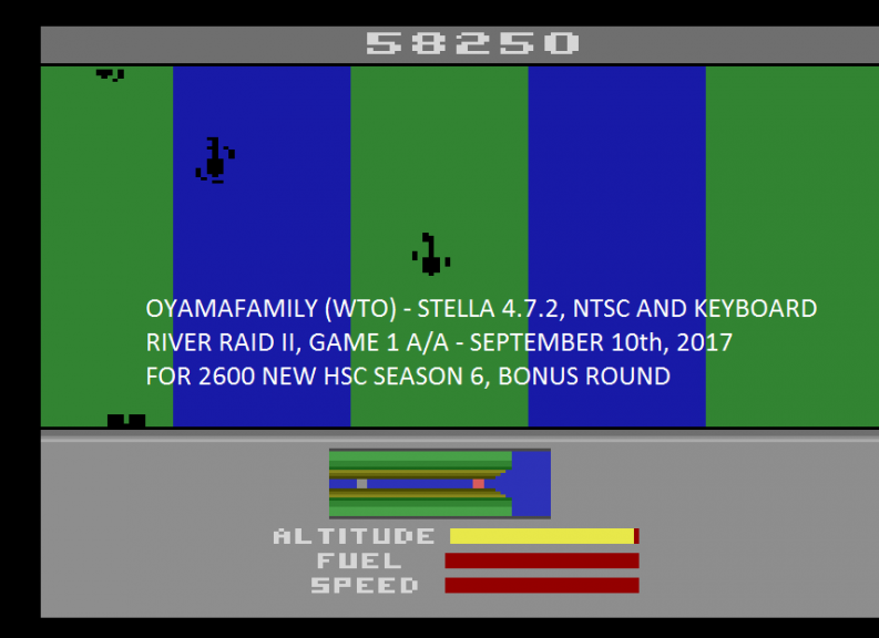 oyamafamily: River Raid II (Atari 2600 Emulated Expert/A Mode) 58,250 points on 2017-11-03 19:35:43