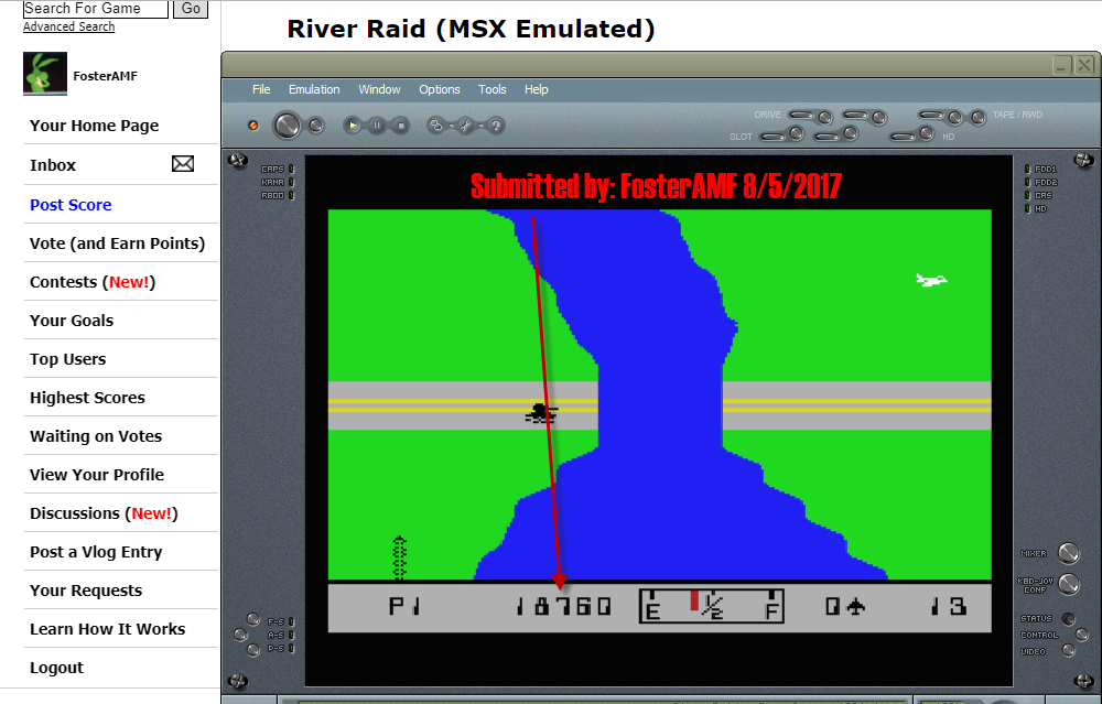 FosterAMF: River Raid (MSX Emulated) 18,760 points on 2017-08-05 19:48:36