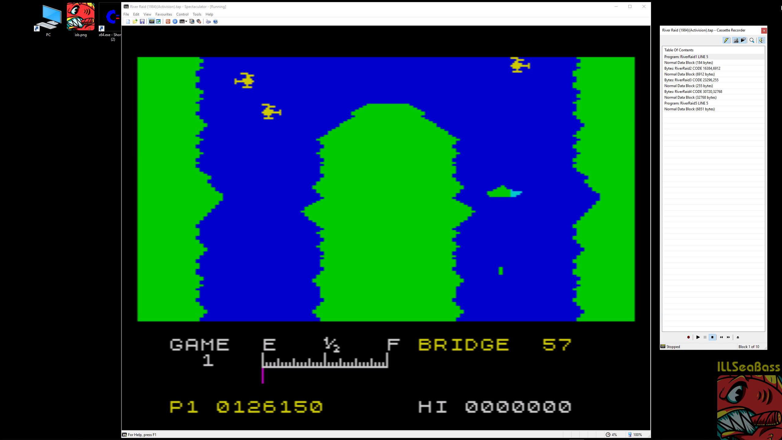 ILLSeaBass: River Raid (ZX Spectrum Emulated) 126,150 points on 2019-01-10 08:35:10