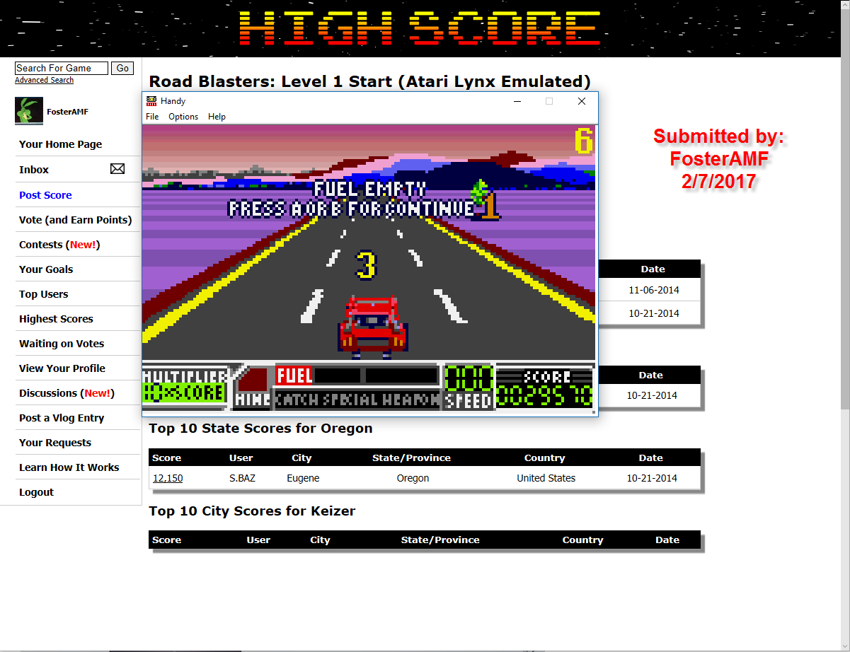 FosterAMF: Road Blasters: Level 1 Start (Atari Lynx Emulated) 29,570 points on 2017-02-08 01:34:51