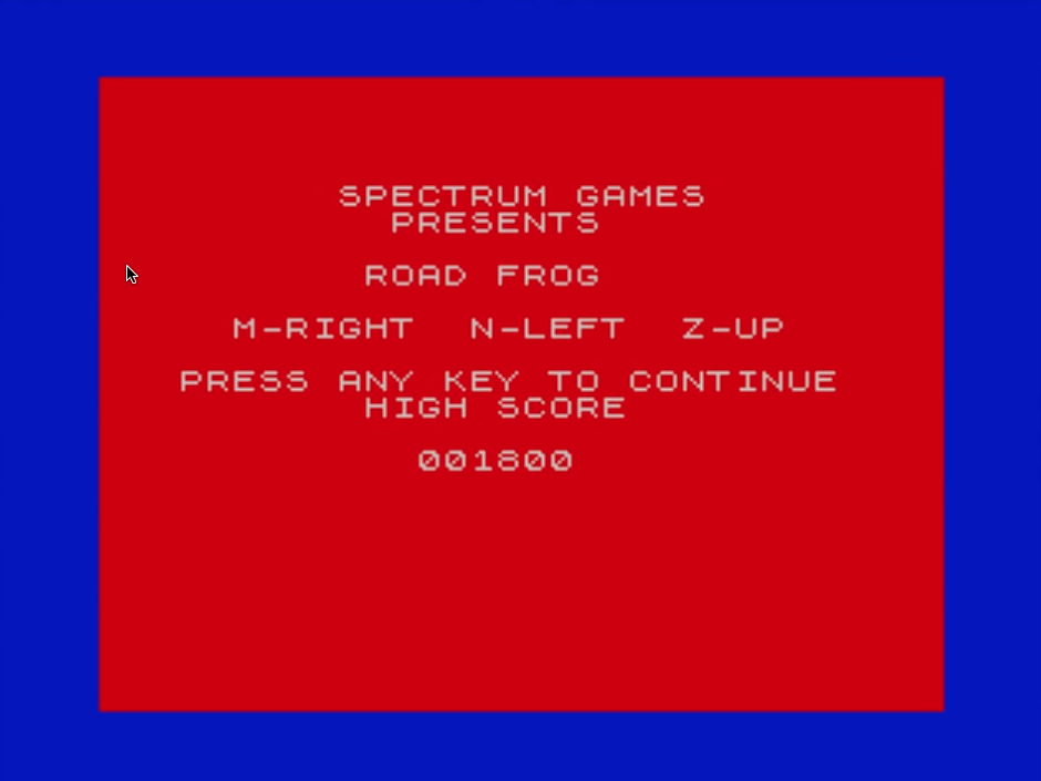mechafatnick: Road Frog (ZX Spectrum Emulated) 1,800 points on 2015-11-01 02:44:23