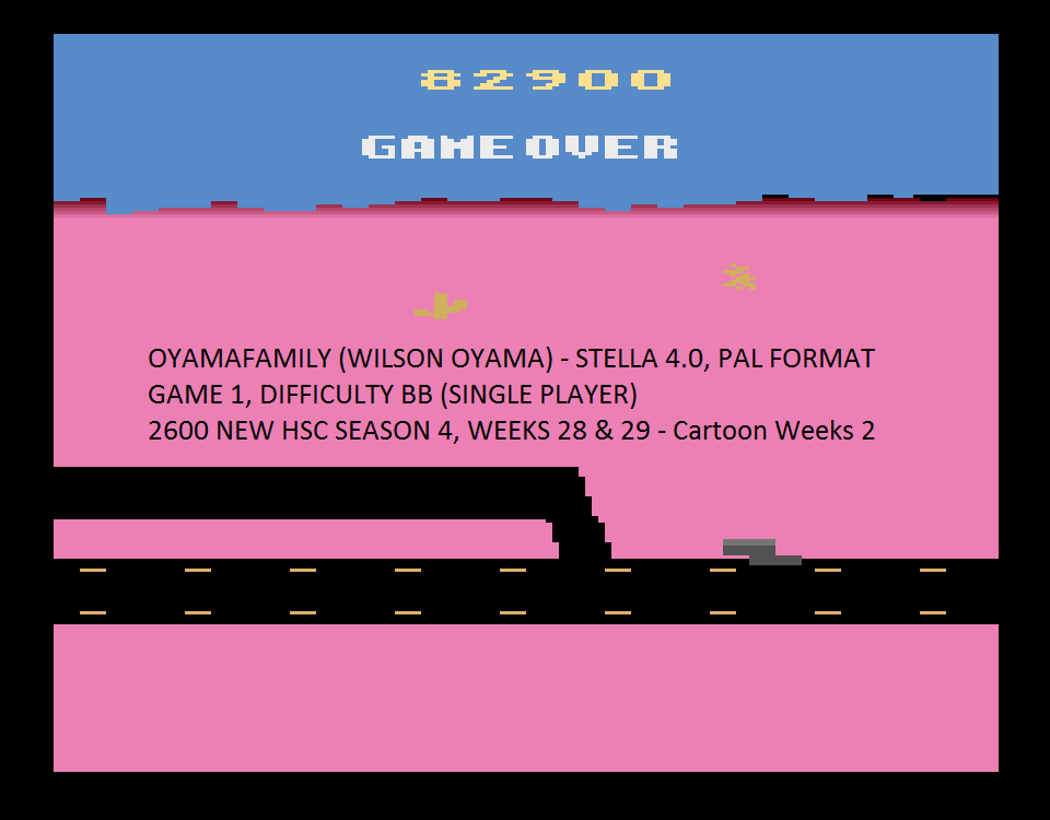 oyamafamily: Road Runner (Atari 2600 Emulated Novice/B Mode) 82,900 points on 2015-08-19 17:07:28