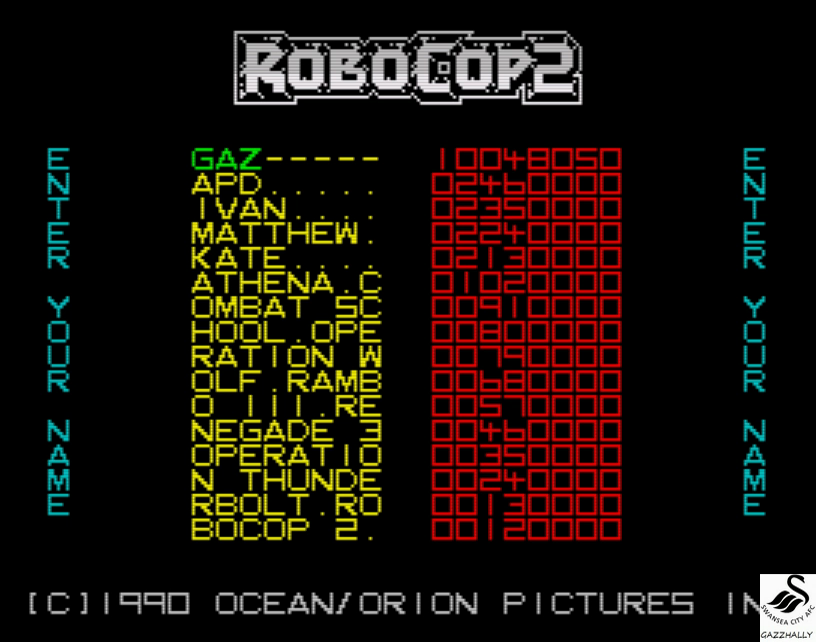 gazzhally: RoboCop 2 (ZX Spectrum Emulated) 10,048,050 points on 2017-04-12 12:32:10
