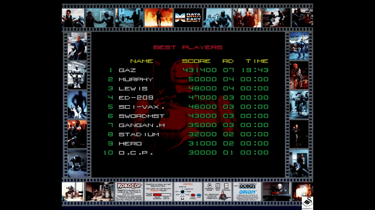 gazzhally: RoboCop [robocop] (Arcade Emulated / M.A.M.E.) 431,400 points on 2017-10-23 07:20:17