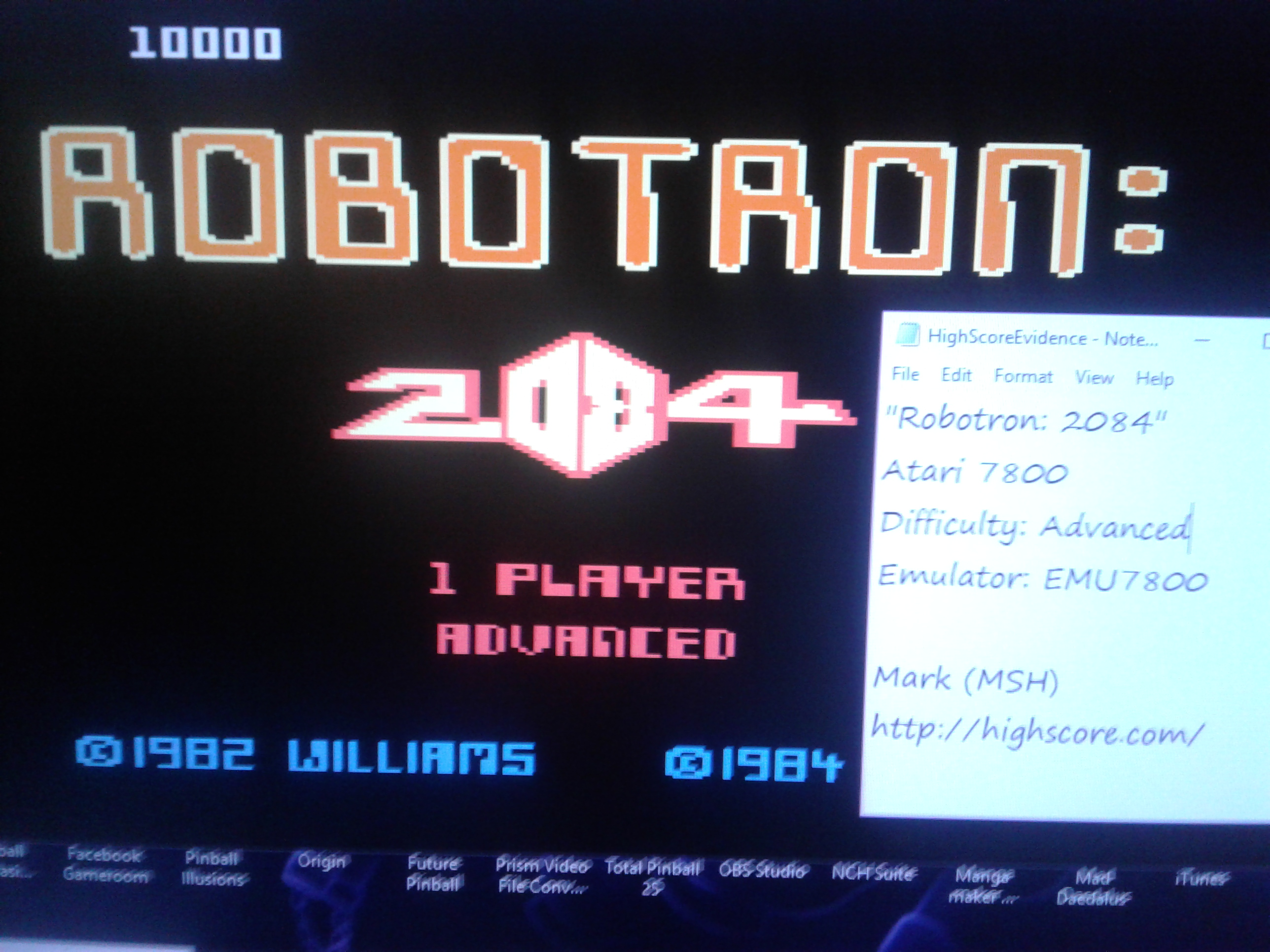 Mark: Robotron 2084: Advanced (Atari 7800 Emulated) 10,000 points on 2019-01-06 03:45:48