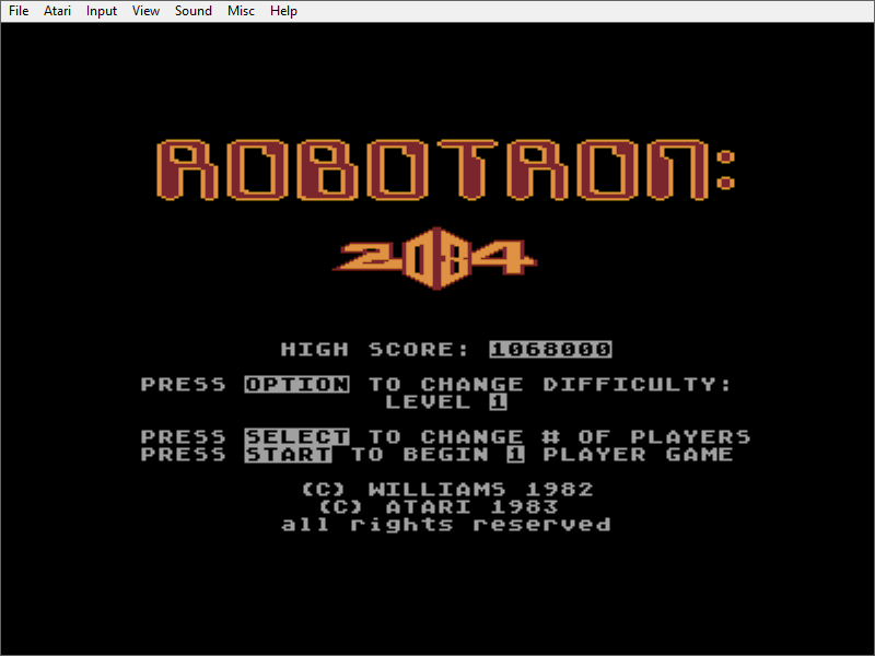 MikeDietrich: Robotron 2084 (Atari 400/800/XL/XE Emulated) 1,068,000 points on 2016-10-24 08:24:08