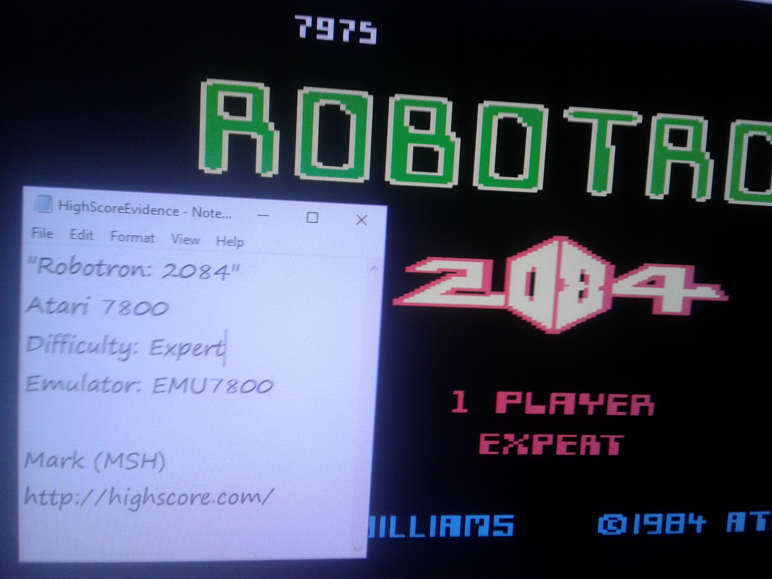 Mark: Robotron 2084: Expert (Atari 7800 Emulated) 7,975 points on 2019-01-06 03:50:26