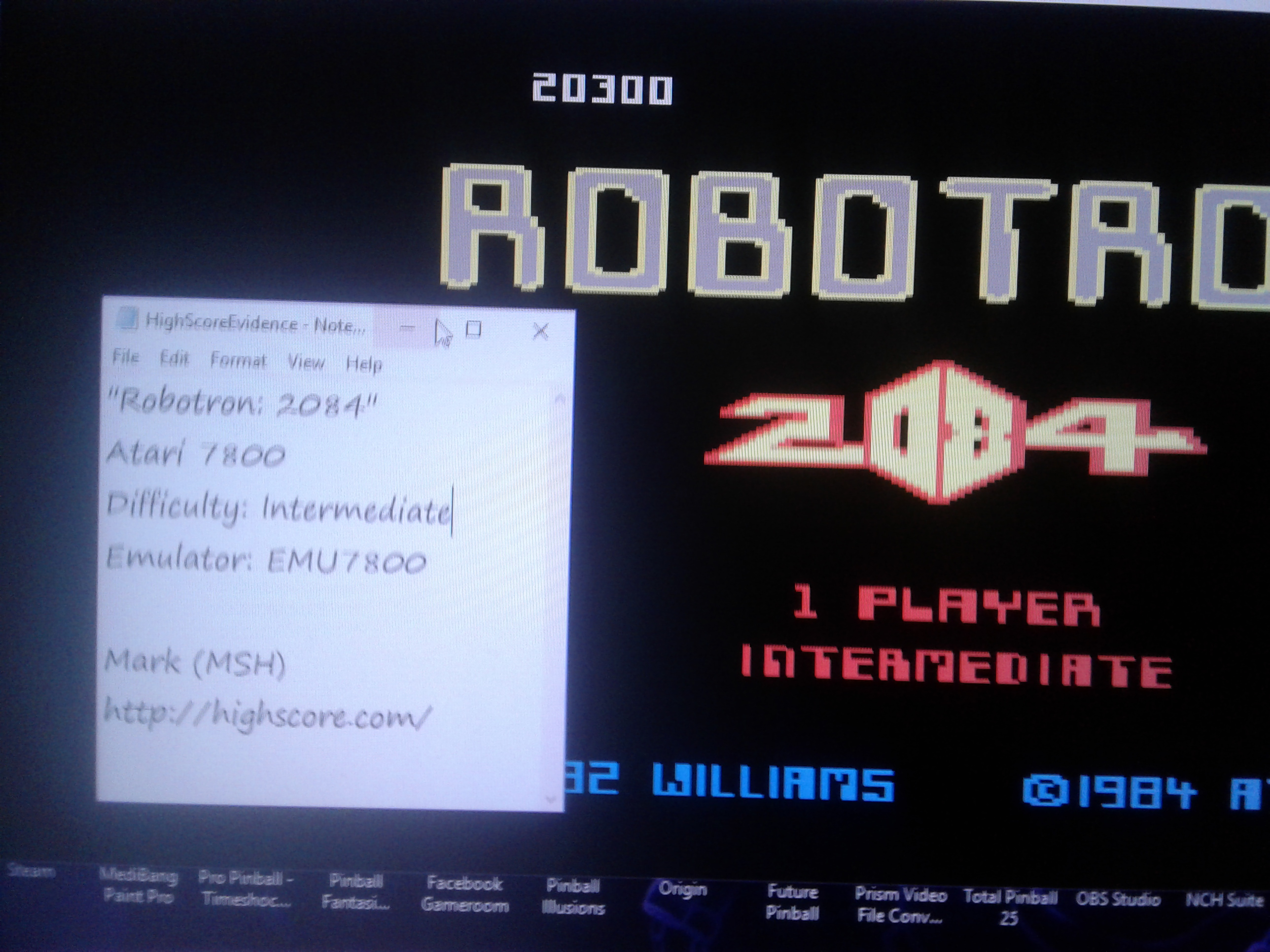 Mark: Robotron 2084: Intermediate (Atari 7800 Emulated) 20,300 points on 2019-01-06 03:40:33