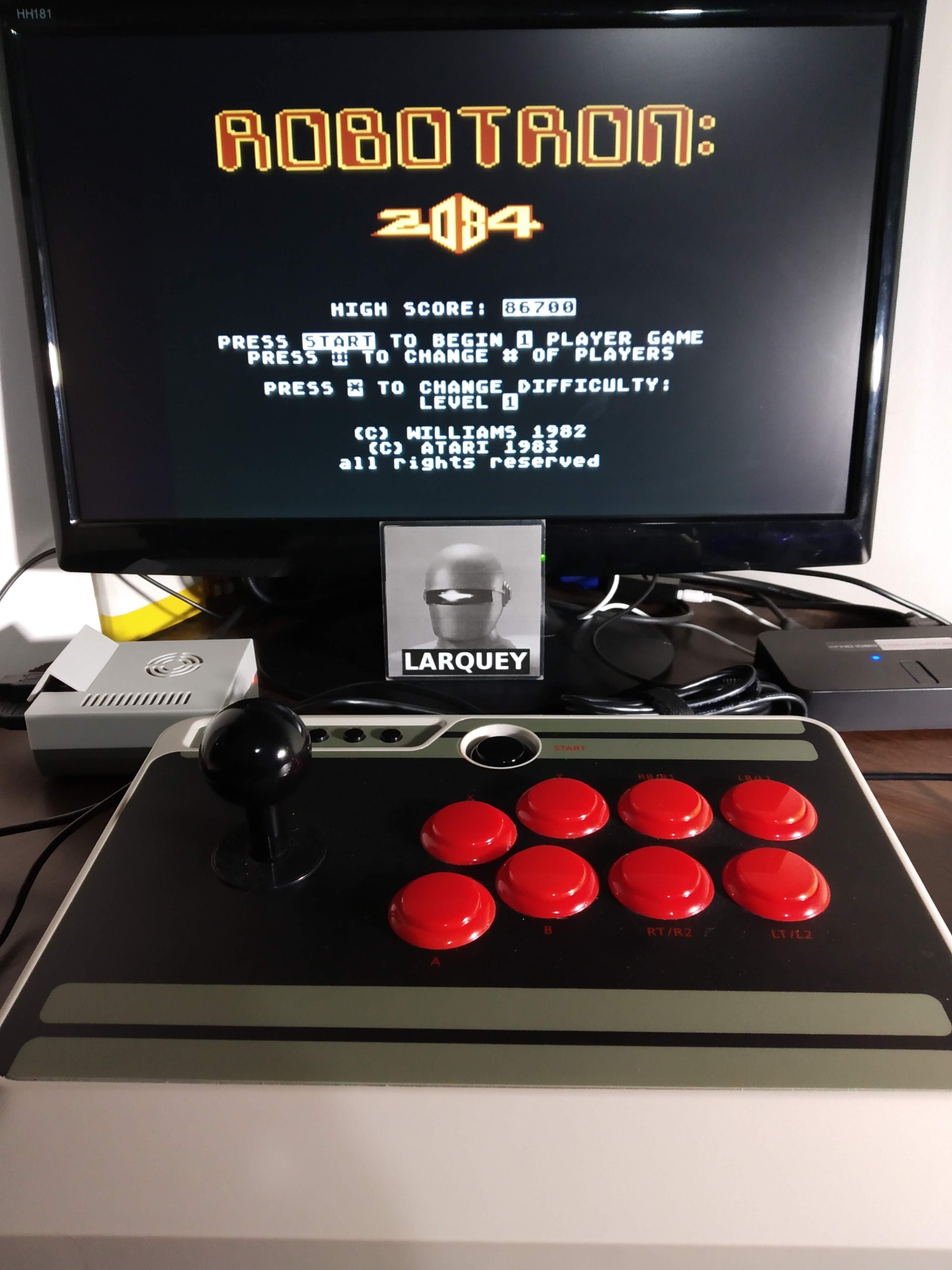 Larquey: Robotron 2084: Level 0 (Atari 5200 Emulated) 86,700 points on 2019-11-11 13:53:23
