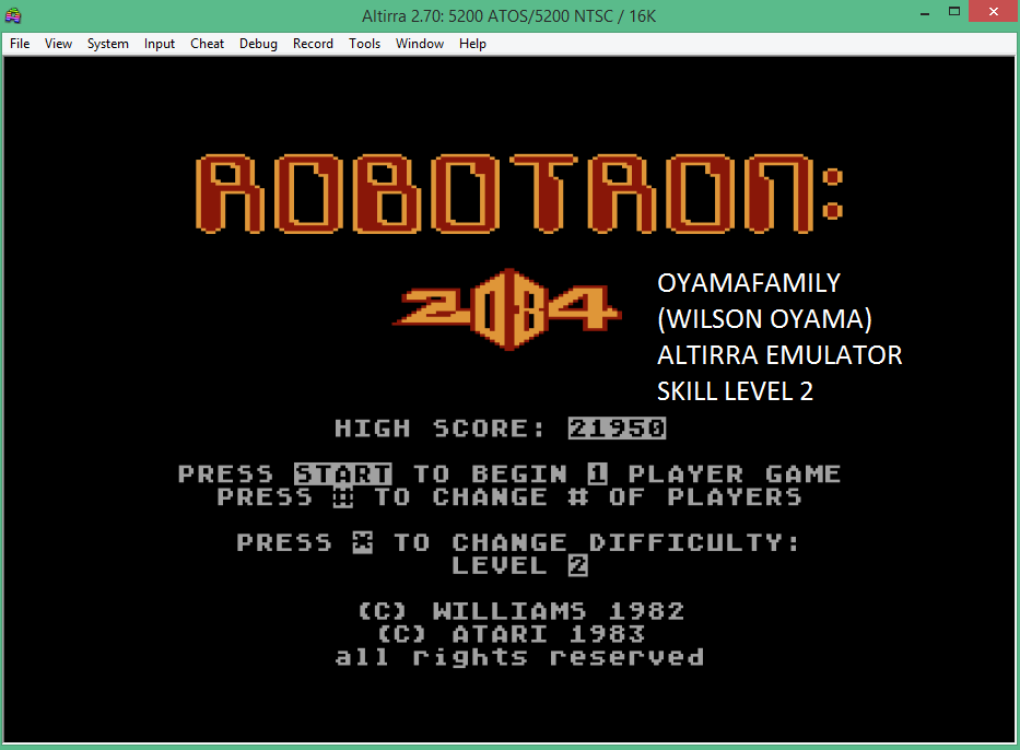 oyamafamily: Robotron 2084: Level 2 (Atari 5200 Emulated) 21,950 points on 2016-02-07 09:51:54
