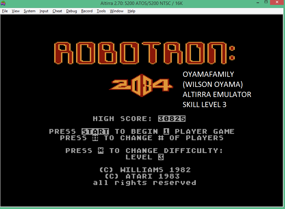 oyamafamily: Robotron 2084: Level 3 (Atari 5200 Emulated) 30,825 points on 2016-02-07 09:52:18