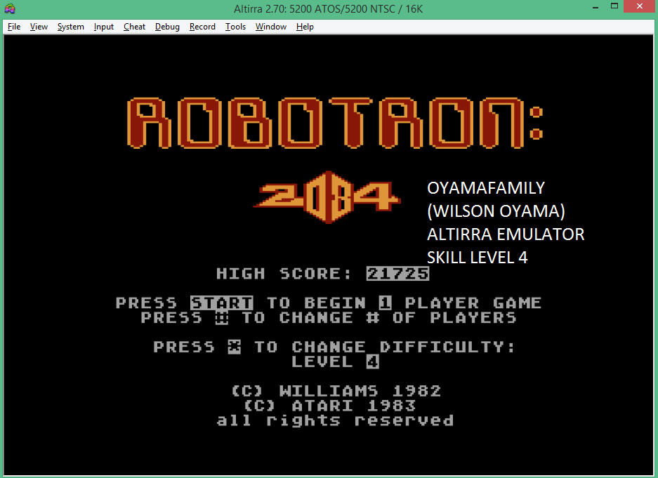 oyamafamily: Robotron 2084: Level 4 (Atari 5200 Emulated) 21,725 points on 2016-02-07 09:52:30