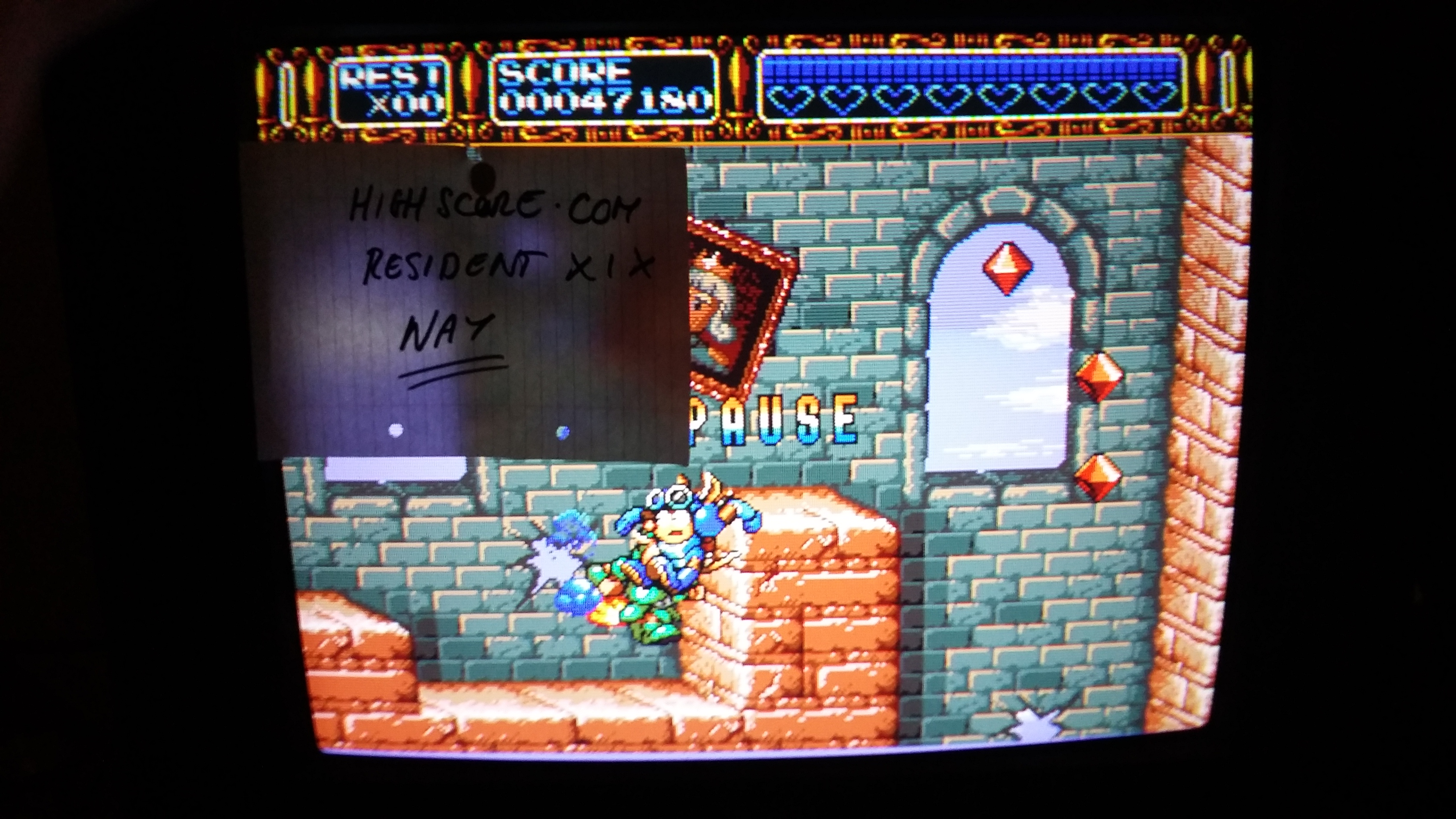 ResidentX1X: Rocket Knight Adventures [Hard] (Sega Genesis / MegaDrive) 47,180 points on 2019-03-06 12:30:22