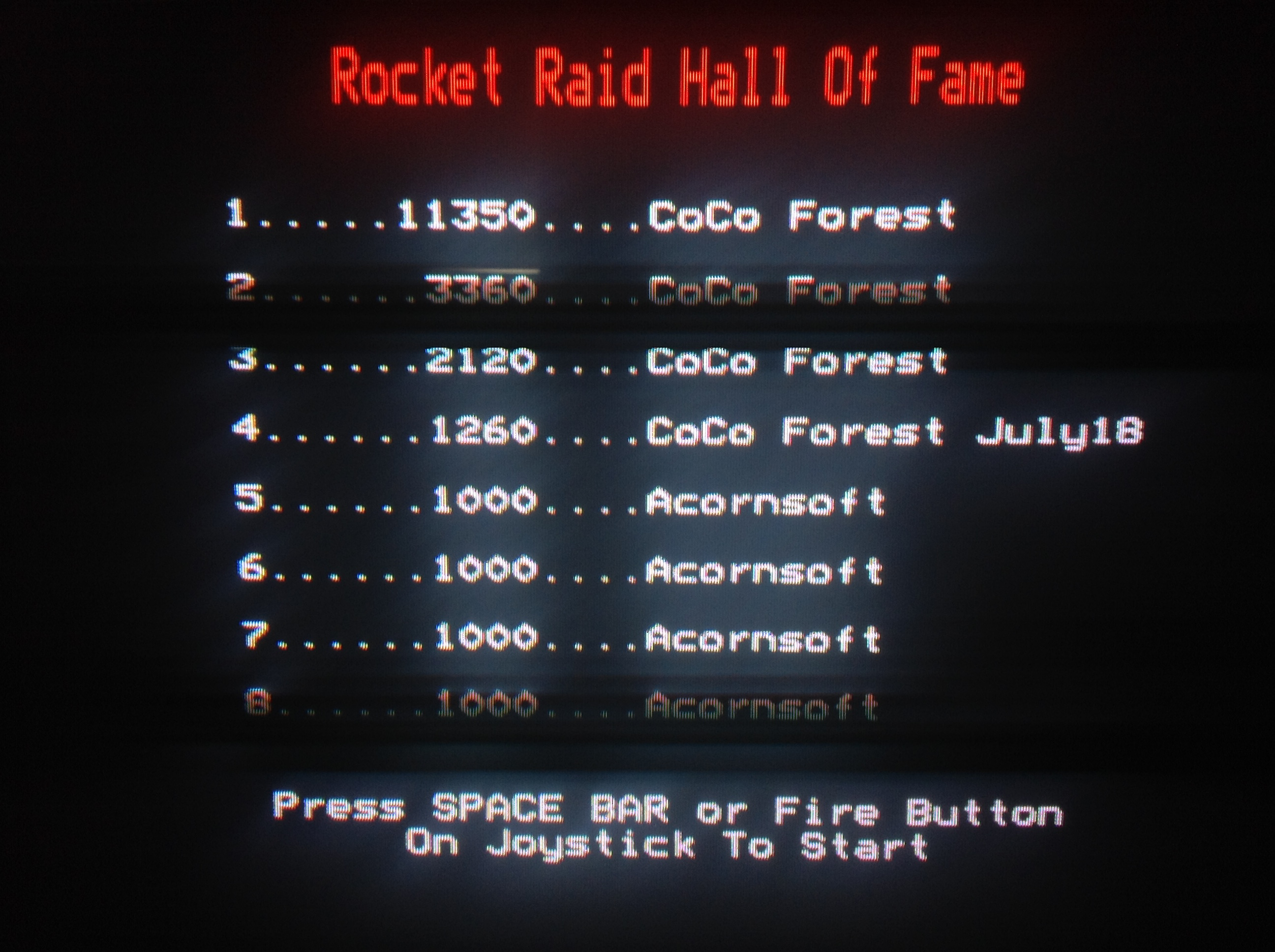 CoCoForest: Rocket Raid (BBC Micro) 11,350 points on 2018-07-01 07:45:32