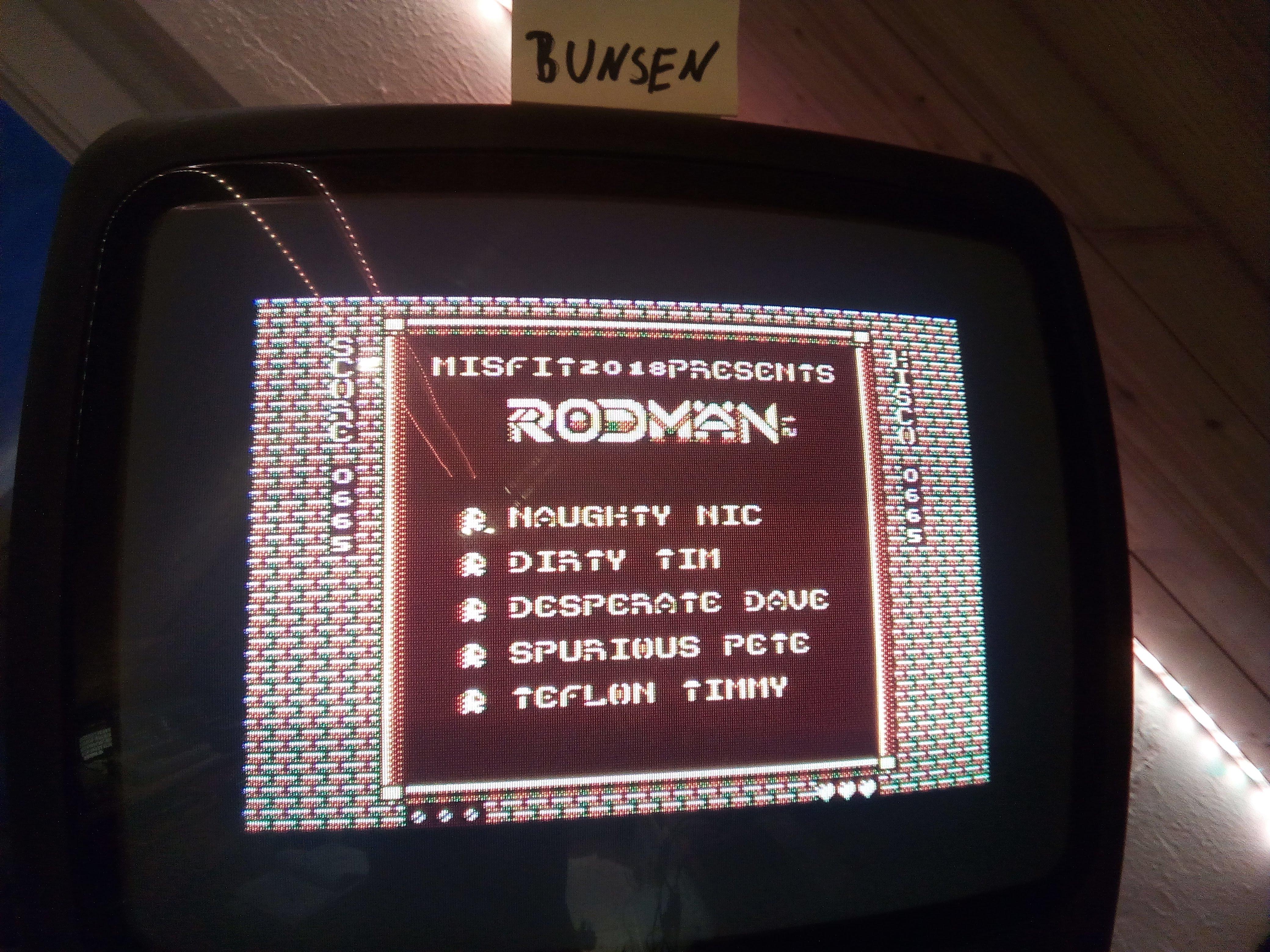 Bunsen: Rodman [HIRES] (Atari 400/800/XL/XE) 665 points on 2020-04-25 16:03:51