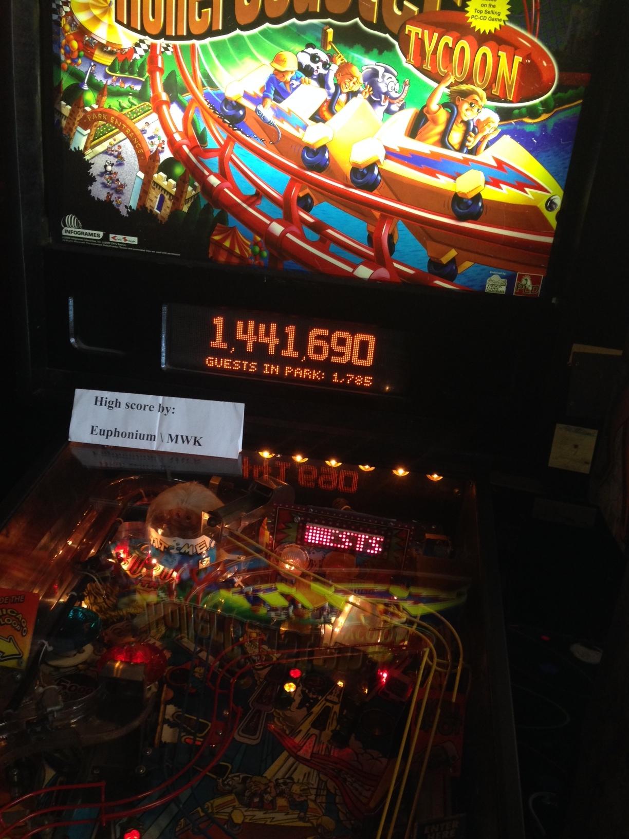 euphonium: RollerCoaster Tycoon (Pinball: 3 Balls) 1,441,690 points on 2016-08-13 19:44:09