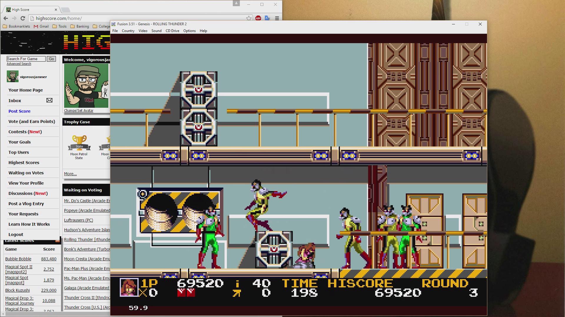 vigorousjammer: Rolling Thunder 2 (Sega Genesis / MegaDrive Emulated) 69,520 points on 2015-08-27 19:01:58