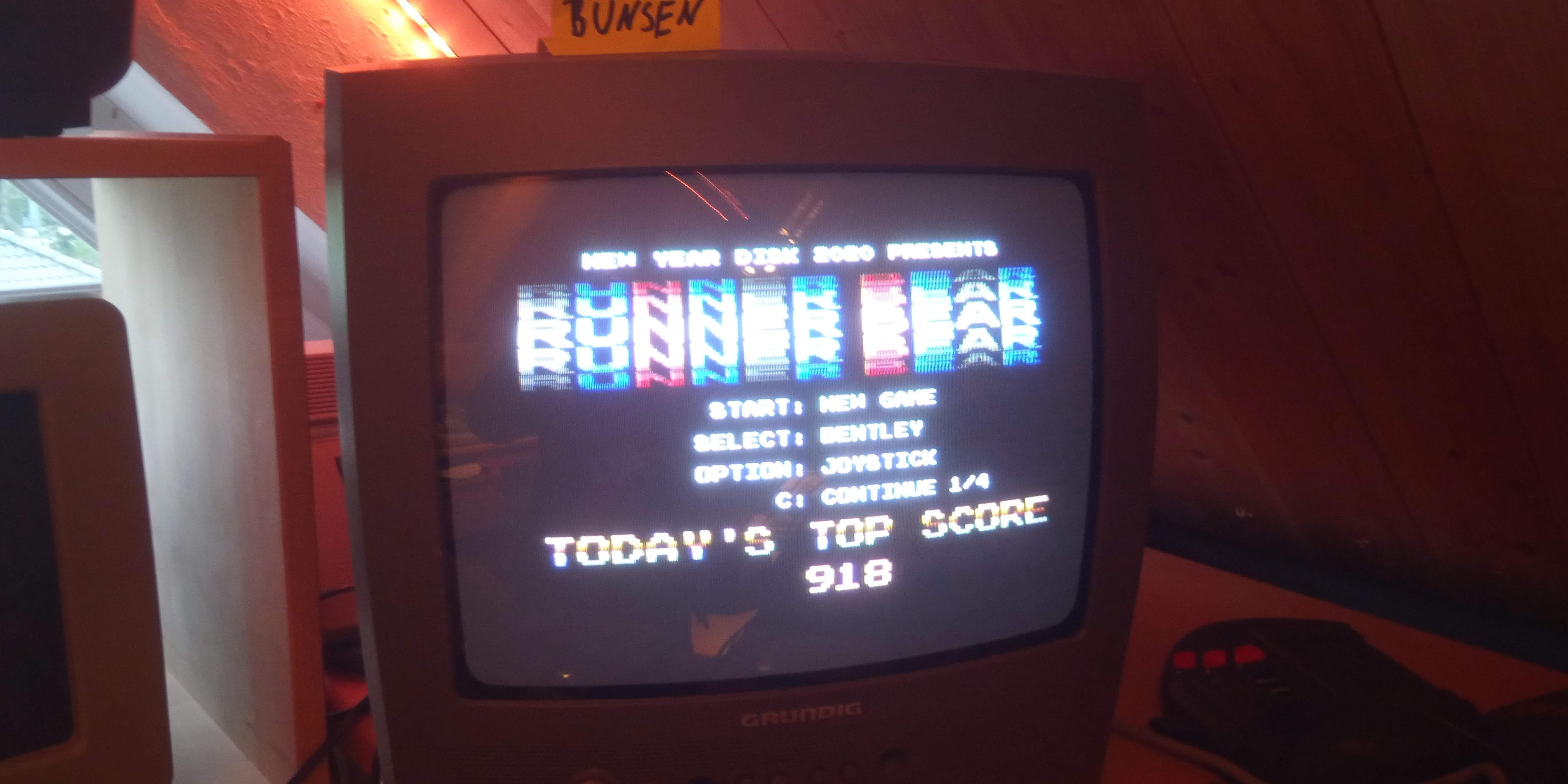 Bunsen: Runner Bear [Bentley] (Atari 400/800/XL/XE) 918 points on 2020-05-18 13:06:02
