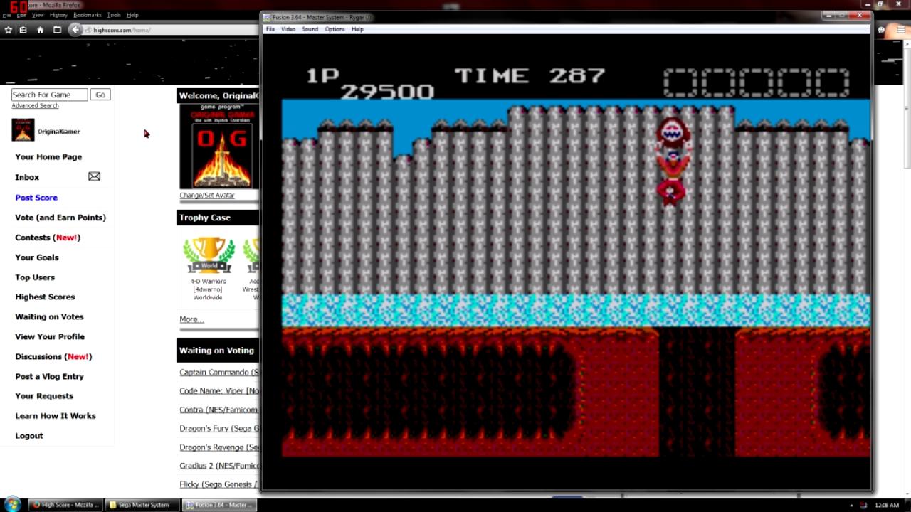 OriginalGamer: Rygar (Sega Master System Emulated) 29,500 points on 2015-10-05 01:19:52