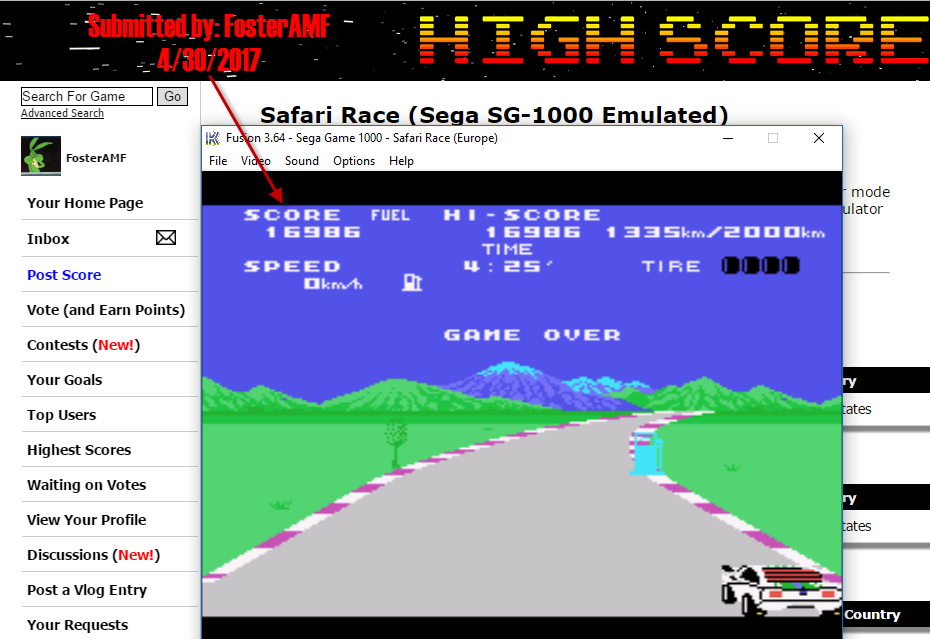 FosterAMF: Safari Race (Sega SG-1000 Emulated) 16,986 points on 2017-04-30 15:20:05