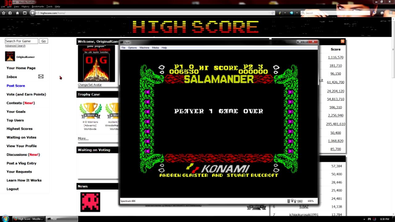 OriginalGamer: Salamander (ZX Spectrum Emulated) 6,530 points on 2015-09-11 21:46:50