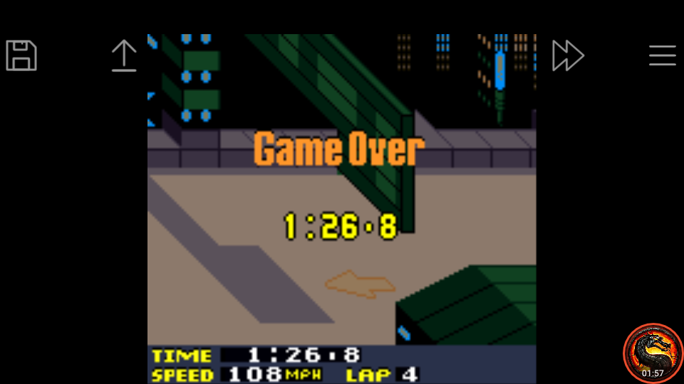 omargeddon: San Francisco Rush 2049: Time Trial [Track 1] (Game Boy Color Emulated) 0:01:26.8 points on 2020-07-17 20:45:36