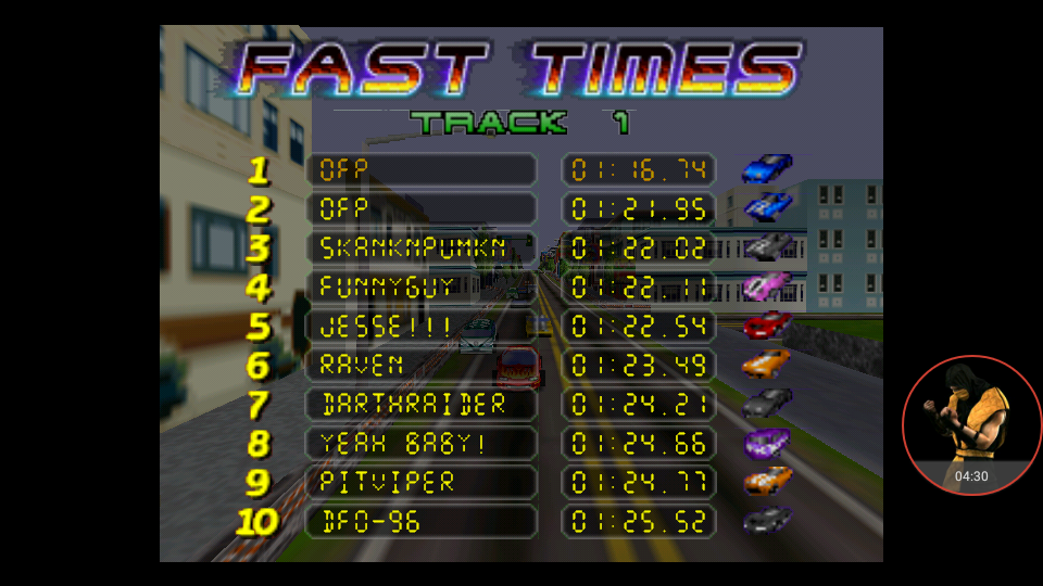 omargeddon: San Francisco Rush: Extreme Racing [Track 1] (N64 Emulated) 0:01:16.74 points on 2017-11-28 20:37:05
