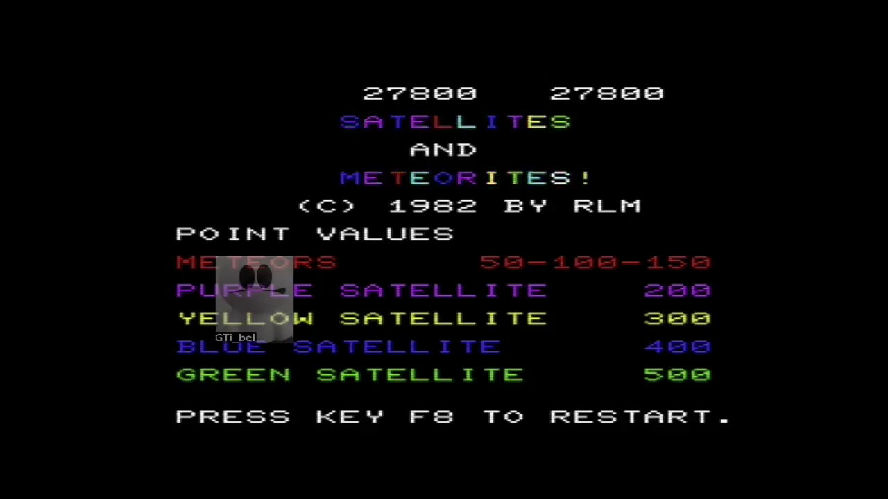 GTibel: Satellites and Meteorites (Commodore VIC-20 Emulated) 27,800 points on 2017-05-19 07:36:42