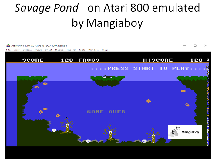MangiaBoy: Savage Pond [Starcade Software / Bug-Byte] (Atari 400/800/XL/XE Emulated) 120 points on 2018-12-25 21:45:50