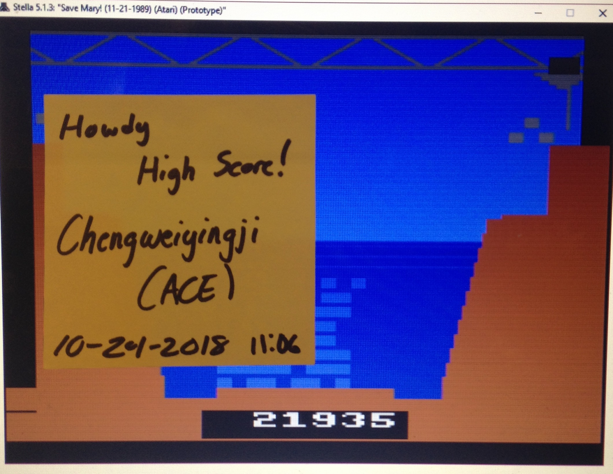 chengweiyingji: Save Mary [Standard] (Atari 2600 Emulated) 21,935 points on 2018-10-24 22:12:07