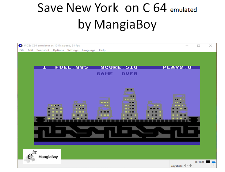 MangiaBoy: Save New York (Commodore 64 Emulated) 510 points on 2017-01-13 13:53:51