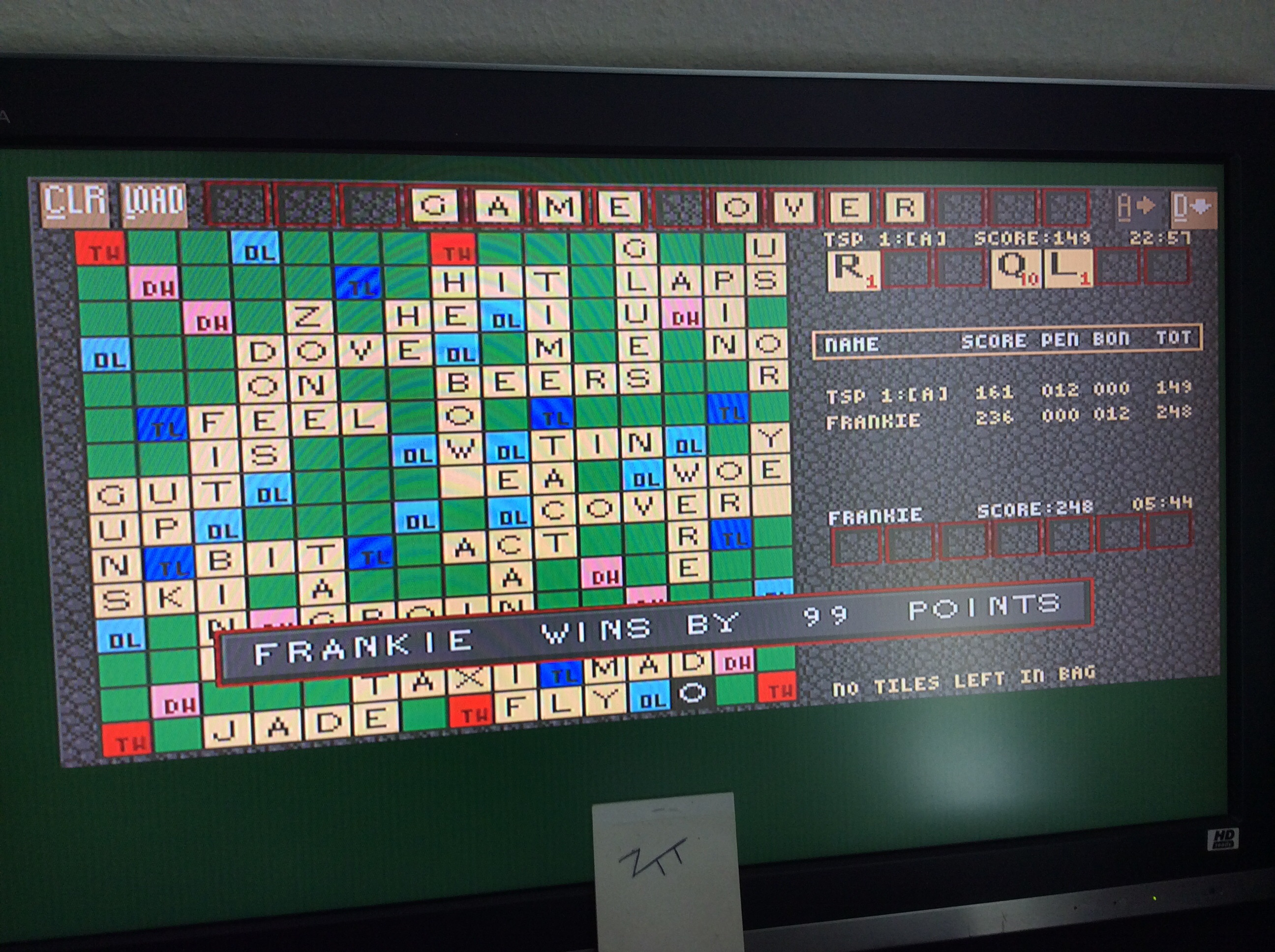 Frankie: Scrabble [TSP Level: A][U.S. Gold] (Amiga) 99 points on 2016-10-27 05:50:03